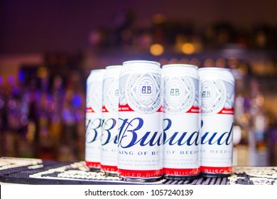 Kiev.Ukraine-17 March,2018: Product shot of Budweiser beer metal can on table in restaurant