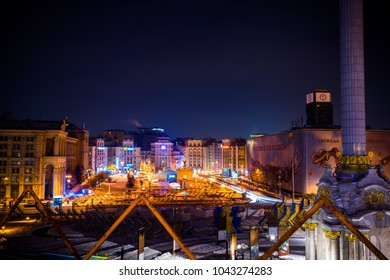 KIEV,UKRAINE-23/02/2018: Maidan independence square at night.The Independence Square, or Maidan Nezalezhnosti, is the central square in Kiev, the main and the most beautiful one
