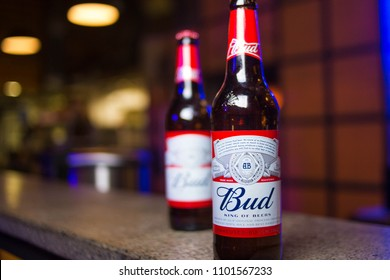 Kiev.Ukraine-26 May,2018: Product shot of Budweiser beer bottles on bar