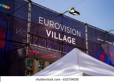 KIEV,UKRAINE-MAY,4: opening day of eurovision village on kreshatyk street on the fourth of May 2017 in Kiev,Ukraine. Kiev is hosting the 2017 eurovision from 9 to 12 may.
