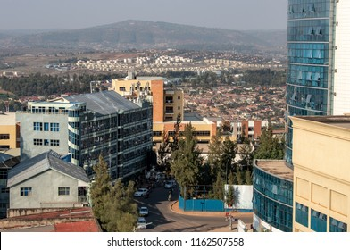 Kigali capital city of Rwanda in East Africa. Cityscape view of Kigali mountains and buildings, houses and commercial architecture.