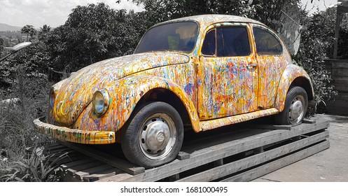 Kigali, Rwanda 03012020: Artists take on the VW Beetle