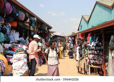 KIGALI, RWANDA - CIRCA JULY 2016: A landscape photography of the section of the Kimironko market where they mainly sell second hand clothing and accessories.
