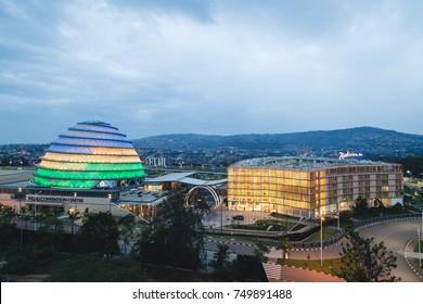 """Kigali, Rwanda - February 18, 2017: Kigali Convention Centre and Radisson Blu Hotel & Convention Centre"""