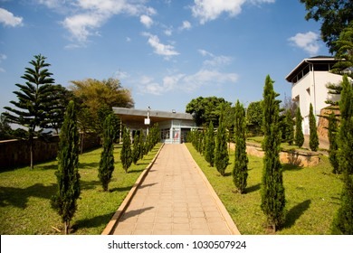 KIGALI, RWANDA - October 5, 2015: Exterior of the Kigali Genocide Memorial commemorates the victims of the 1994 genocide in Rwanda. The site serves as final resting place for 250,000 victims.