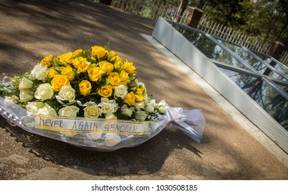 KIGALI, RWANDA - October 5, 2015: Flowers at the Kigali Genocide Memorial for the victims of the 1994 genocide in Rwanda. The site serves as final resting place for 250,000 victims.