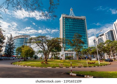 Kigali, Rwanda - September 21, 2018: Pension Plaza and surrounding buildings at the city centre roundabout