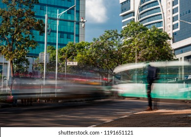 Kigali, Rwanda - September 21, 2018: Traffic and pedestrians during the morning commute in the city centre