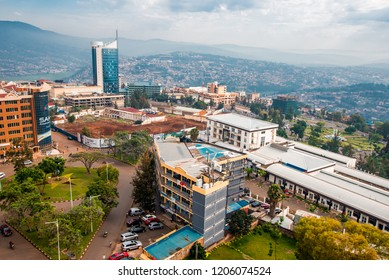 Kigali, Rwanda - September 21, 2018: a wide panoramic view looking down on the city centre with Kigali City Tower against the backdrop of distant blue hills