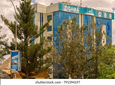 KIGALI,RWANDA - NOVEMBER 01,2017: Remera This are the Zigama CSS headquarters in KG 178 Street.It's an African microfinance bank.Remera is mostly a business place with many banks and shops.