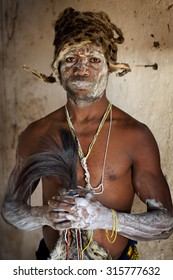 KIGOMA - TANZANIA - JULY 18, 2015: Unidentified traditional healer on July 18, 2015 in Kigoma, Tanzania. Many traditional healers have been arrested recently in Tanzania because of albino murders