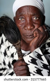 KIGOMA - TANZANIA - JULY 20, 2015: Unidentified traditional healer on July 20, 2015 in Kigoma, Tanzania. Many traditional healers have been arrested recently in Tanzania because of albino murders