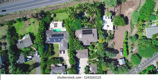 Kiheh, Maui, Hawaii - November 8, 2018: An aerial top down view of a residential neighborhood near Wailea, including the B&B the Pineapple Inn.