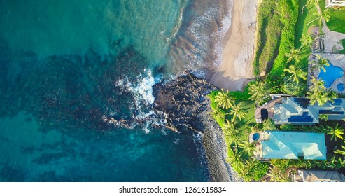 Kiheh, Maui, Hawaii - November 8, 2018: An aerial view of an expensive neighborhood in Wailea, an area on the south shore known for its beautiful beaches and calm water ideal for snorkeling.