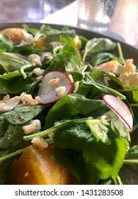 Kihei, Hawaii, USA, June 10, 2019: beet salad at Tommy Bahama Restaurant, Bar & Store.