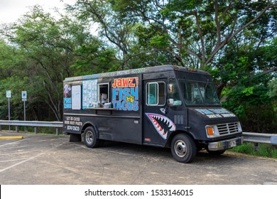 Kihei, HI / USA – October 1, 2019: Jawz fish tacos food truck is located on the parking lot of Makena Beach in Kihei, Hawaii on Maui.