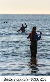 Kijkduin beach, the Netherlands - July  4, 2016: beach rescue training