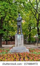 Kikinda, Serbia - July 26, 2019: Monument to Jovan Popovic in Kikinda, Serbia. Jovan Popovic was a Serbian writer and poet. Popovic was born in Kikinda, in modern-day Serbia.