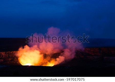 Kilauea Caldera Lava Lake Volcano National Stock Photo (Edit