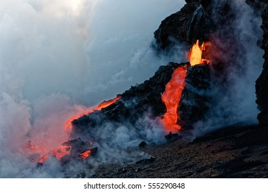 Kilauea Lava Flow entering the Pacific