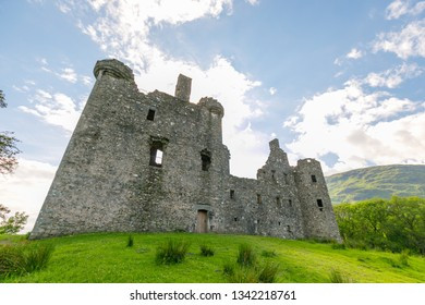 Kilchurn Castle in Scotland on sunny summer day