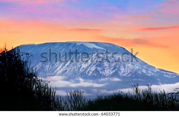 Kilimanjaro at sunrise, Amboseli national park, Kenya, Africa