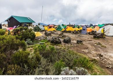 Kilimanjaro, Tanzania - February 05, 2020: campsite on the Lemosho route,  the most scenic trail on mount Kilimanjaro