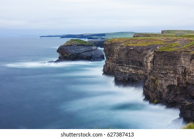 Kilkee Cliffs during sunset, County Clare, Ireland. Long exposure