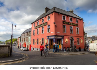 Kilkenny, Ireland - 07 May, 2018: People walking in the city center. The area is full of pubs, restaurants and it's famous for its several breweries.