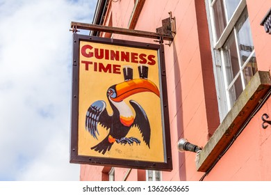 Kilkenny, Ireland - 07 May, 2018: Beer sign in a pub the city center. The place is the cultural quarter in the city and is full of restaurants, bars and breweries.