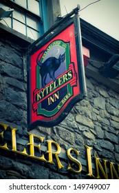 KILKENNY, IRELAND - MAR 27:  Sign at historic Kytelers Inn in Kilkenny City, Ireland on the night of March 27, 2013.  This landmark Medieval Irish pub was established in 1324.