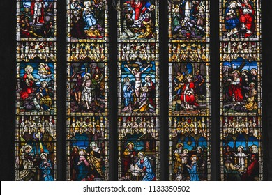 Kilkenny, Ireland - May 2018: Mozaic of old catholic religion Biblic scenes with  Jesus and prophets made from Colorful Stained Glass, located in a local church in south part of Ireland
