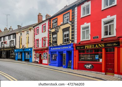 KILKENNY, IRELAND - MAY 26, 2014: Historic pubs line a quiet street