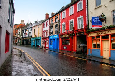 KILKENNY, IRELAND - NOVEMBER 21, 2014: Center of a small city in Leinster Province with different bars and pubs. It is a popular touristic destination