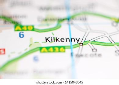 Kilkenny. United Kingdom on a geography map
