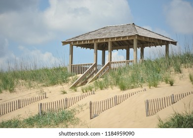 Kill Devil Hills, NC/United States- 06/09/2014: A gazebo is seen along the dunes at the beach.