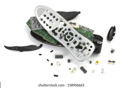 Kill your Television, Smashed and broken TV remote control on white background, copy space