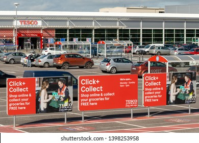 Killarney, County Kerry, Ireland, 27 March 2019. Tesco Click and Collect collecting point at Tesco superstore Killarney DeerPark shopping centre on bright sunny day.