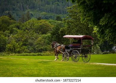 Killarney, County Kerry, Ireland 7-20-2019: Jaunting car in Killarney National Park, near the town of Killarney, County Kerry, Ireland