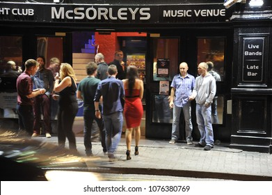 Killarney, Ireland 09/14/2014- People mingle outside a night club in Killarney