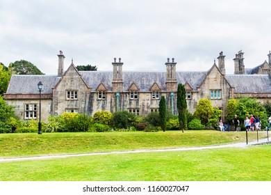 KILLARNEY, IRELAND - JULY 12, 2018: Tudor style mansion, Muckross House, Co Kerry, Ireland