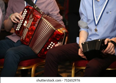 Killarney, Ireland. November 3 , 2017. Two Irish traditional instruments being played during a session at the end of a traditional music festival.