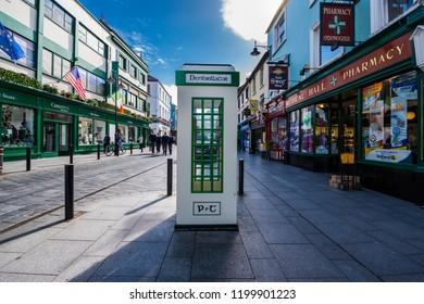 Killarney, Ireland. October 2, 2018. Defibrillator Box on street.