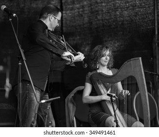 Killarney,Ireland,July 25th,Catriona Mc Kay and Chris Stout perform live at Folkfest,INEC,Killarney,County Kerry on July 25th 2015 in Killarney,Ireland