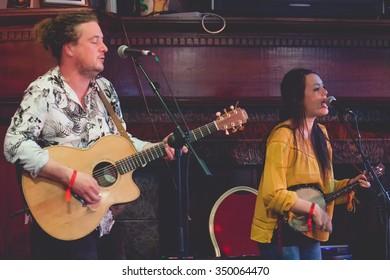 Killarney,Ireland,July 26th,The Whileaways perform live at Folkfest,INEC,Killarney,County Kerry on July 26th 2015 in Killarney,Ireland
