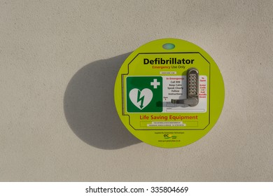 KILLEARN, STIRLINGSHIRE, SCOTLAND, UK - 29 JANUARY 2015: Public Access Defibrillator attached to the wall outside village hall
