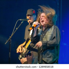 Killer Dwarfs Nov. 10 2018 at the Muisic Hall and Concert Theatre , Oshawa , Ontario , Canada Russ Graham lead singer of the Killer Dwarfs with bass Player Johnny Fenton