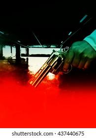 Killer with gun in moody scene background