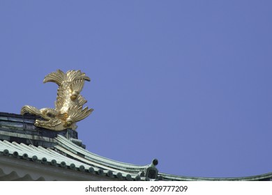 Killer whale pike and gold castle tower of Nagoya Castle