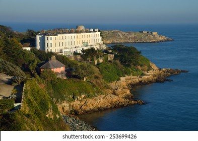 KILLINEY, IRELAND - FEBRUARY 8: Sorrento Terrace, an exclusive residential property complex along the South County Dublin coastline, on February 8, 2015 in Killiney, Ireland.